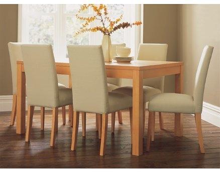 Mesas y sillas la puerta carpinteria for Sillas de comedor tapizadas